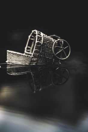 brown bassinet stroller on water